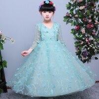 2018Spring New Children Girls Green Color Elegant Birthday Wedding Party Long Dress Kids Baby Evening Dance Host Ball Gown Dress