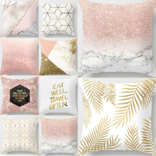 HOT 2019 Home Gold Shining Printed Polyester Throw Pillow Pillow Cover