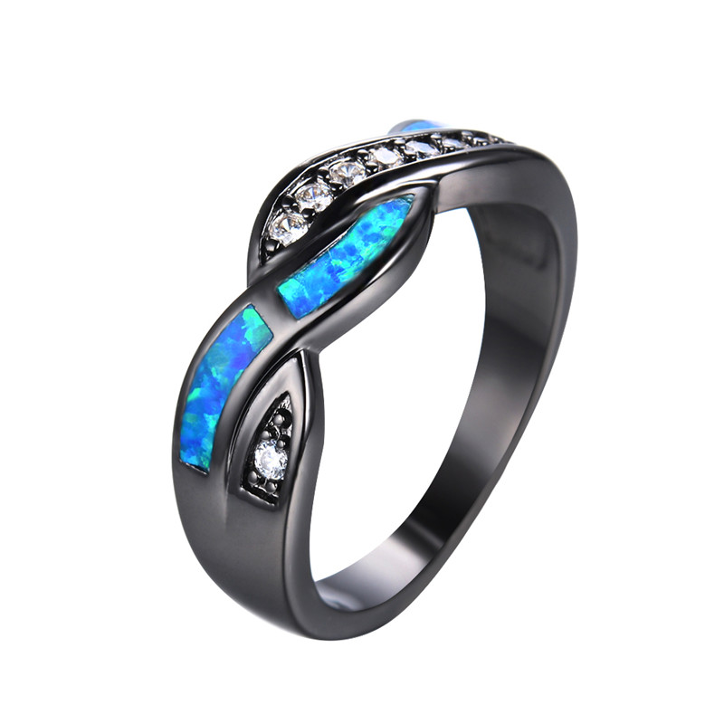 2016 New Fashion Blue Fire Opal CZ Diamond Cross Rings For Women/Men Vintage Black Gold Filled Zircon Ring Wedding Jewelry RB850 fire opal ring black uk