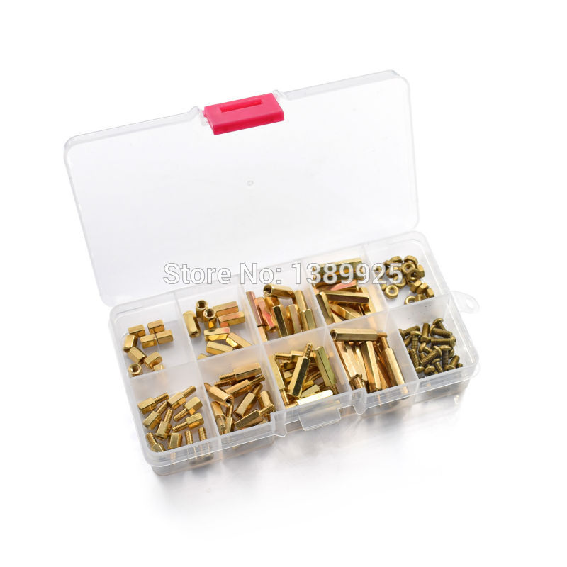 120pcs/lot  M2.5 Series Hex Brass Spacer / Standoff + Nuts + Screws W/Storage Case Raspberry Pi 3 Accessories Kit