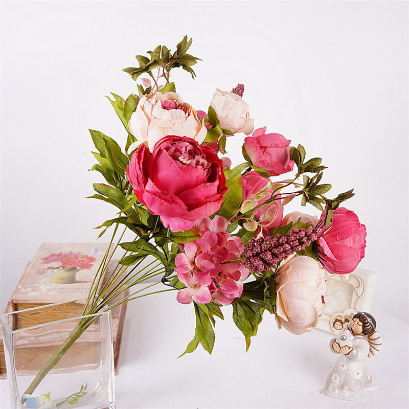 1Bunch Peony Silk Fake Artificial Flowers For Home And Hotel Decoration 14