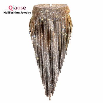 Qiaose Блестящий Полный горный хрусталь длинный чокер, ошейник, воротник заявление ожерелье для женщин Высокое Качество потрясающее ожерелье ...