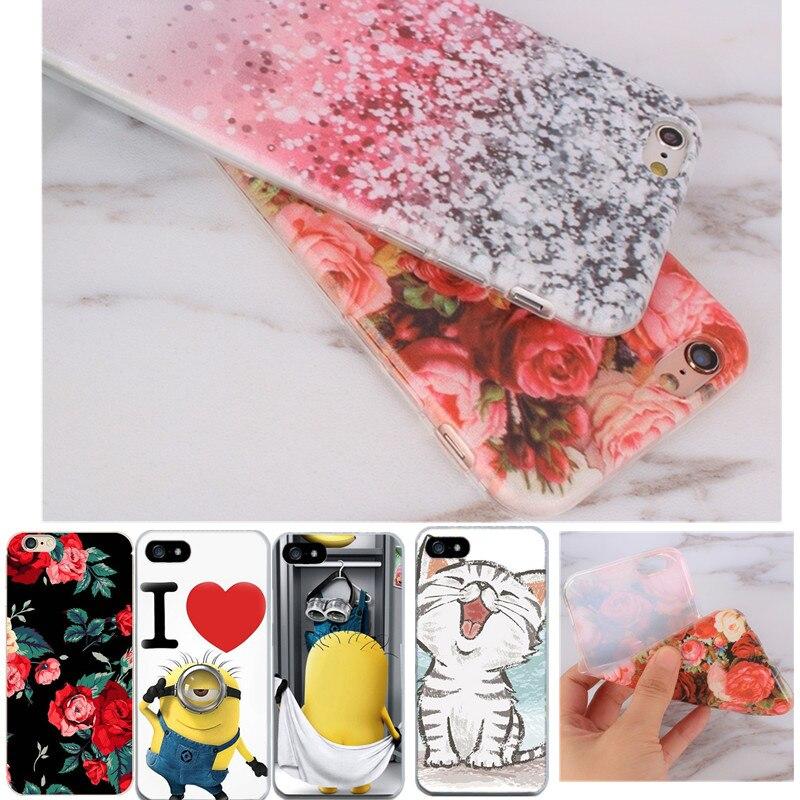 Joykiworld цветок тонкий кремния телефон Сумки для Apple IPhone 5C Чехол Мягкий чехол для iPhone 6 6 s 5 5S se кожи В виде ракушки