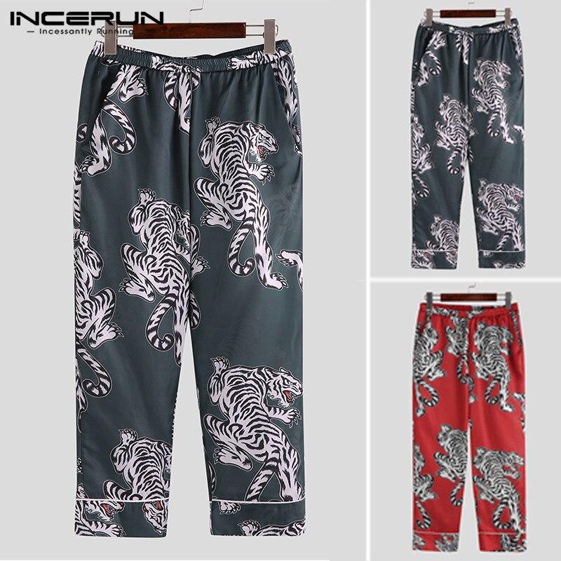 Men Sleep Bottoms Pants Silk Satin Printing Leisure Pajamas 2019 Comfortable Vintage Sleepwear Men Lounge Pants S-5XL INCERUN