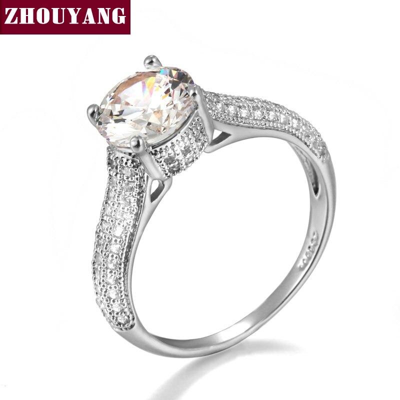 ZHOUYANG Одежда высшего качества Classic Silver Цвет Кубического Циркония Обручальное кольцо Австрийские кристаллы ZYR222 ZYR207