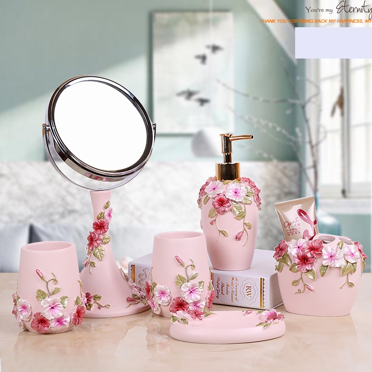 pink color floral Resin five or six pieces bathroom accessary set :1 Liquid bottle 2 cups 1 Toothbrush holder 1 Soap dispenser image