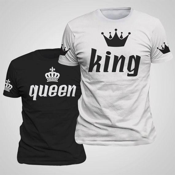 King Queen любителей футболка императорская корона печать одежда для пар любителей футболка Femme Лето 2018 новости Повседневное круглым вырезом Топы корректирующие