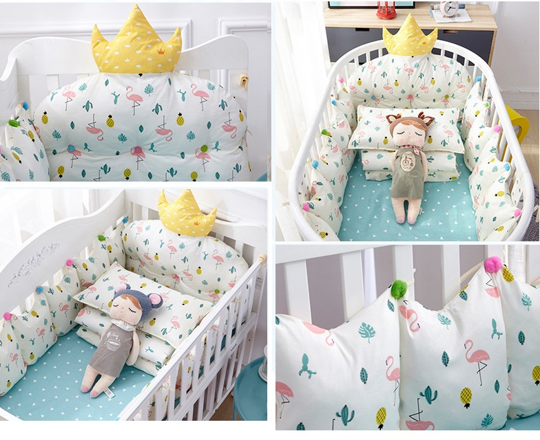 4pcs Baby Nordic Bumper Cradle Cotton Bumpers On The Bed Crown Shape Backrest Head Baby Room Decor Bed Accessories (3)