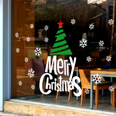 DCTAL Christmas Tree Sticker Glass Window Decal Wall Sticker Decal Home Decor Shop Decoration X mas Stickers xmas105