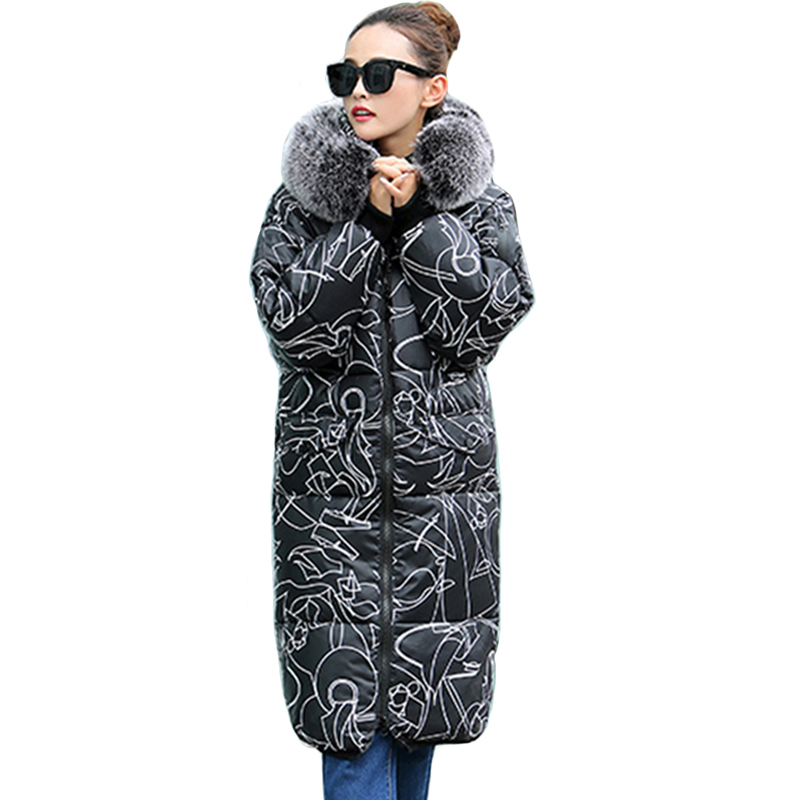 2019 New arrival women winter long jackets fashion pattern cotton padded warm   parkas   with fur hooded casual pockets outwear coat