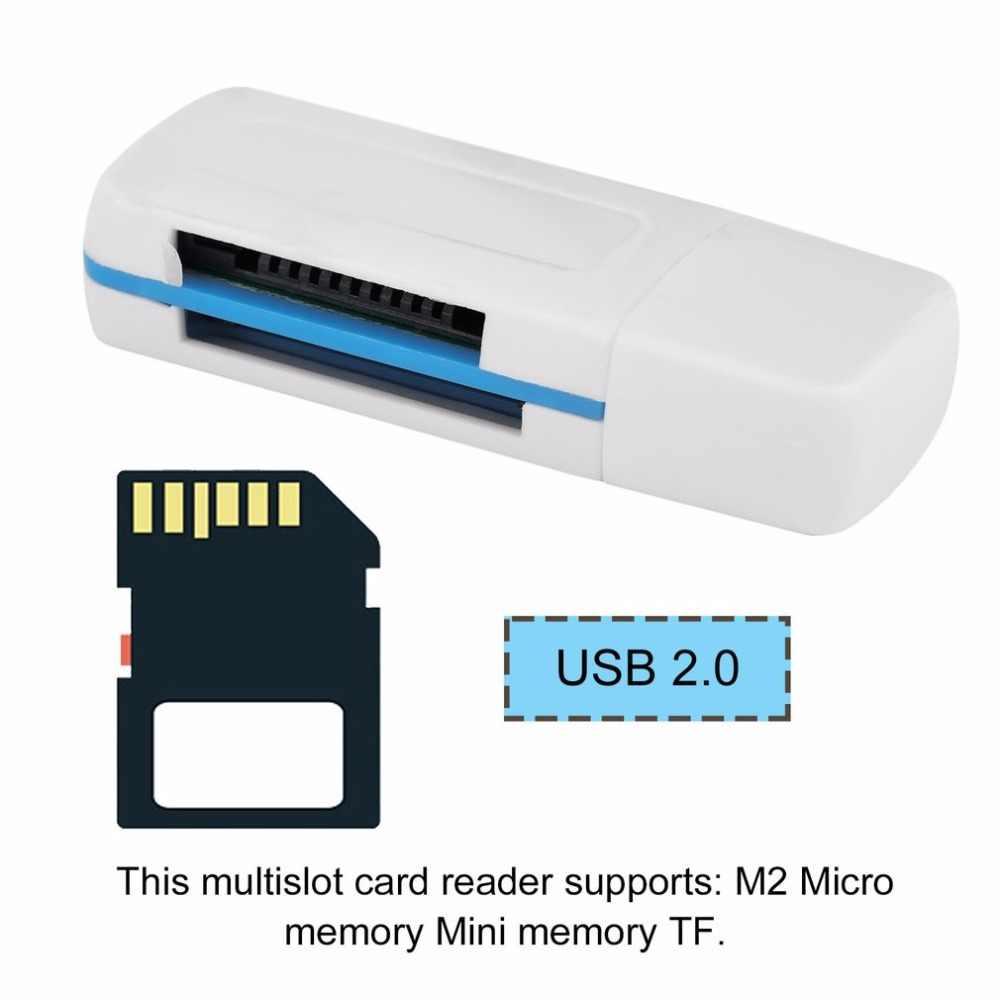 2 قطعة USB المحمولة 2.0 4 في 1 الذاكرة قارئ بطاقات متعددة ل M2 ل SD ل SDHC DV مايكرو لتأمين بطاقة رقمية TF بطاقة