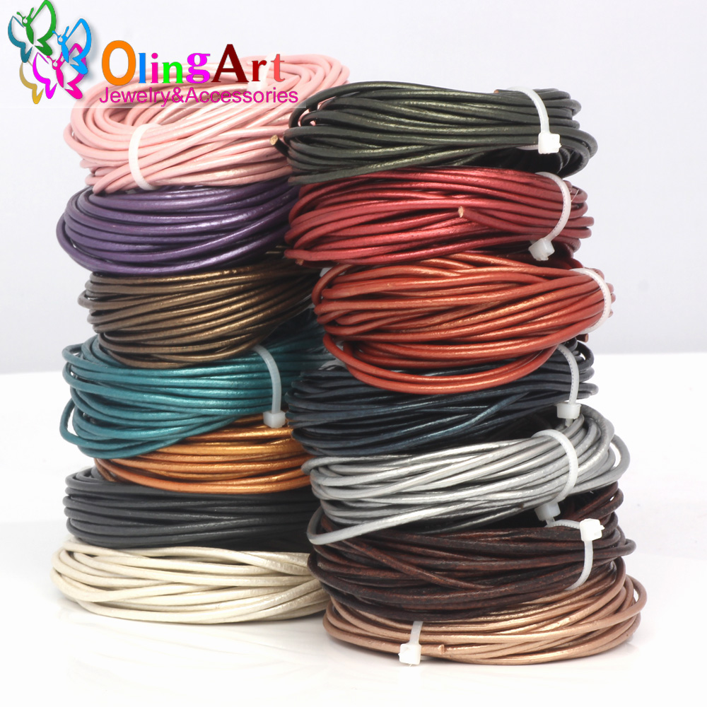 OlingArt Leather Cords 3mm 5M Craft Round pearl Genuine pearls Cord/rope/Wire/string DIY Bracelet choker necklace Jewelry making