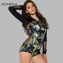 Купить с кэшбэком AONIHUA 2018 Design Mesh Hollow One Piece Swimsuits Women tranquil Print Swimwear female Push up Long sleeve swimming Suit 9022