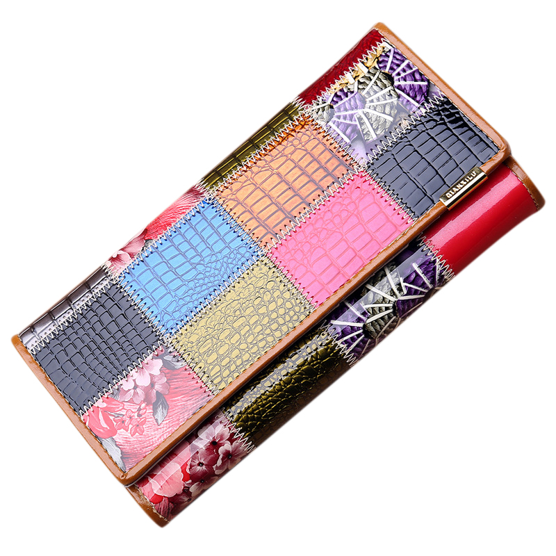 5) Qian Xi Lu Cortex Women Wallet Female Hasp Purse Long Wallet Ladies Plaid Wallet luo qian black 43