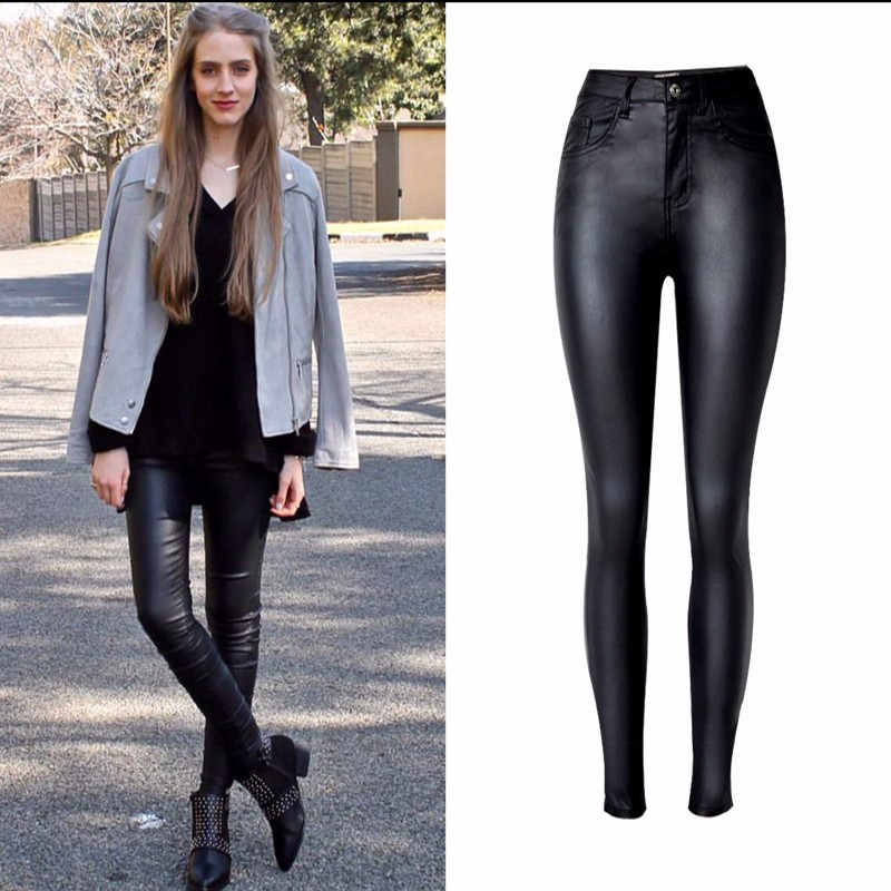 19 Fashion Women Jeans,fitting High Waist slim Skinny woman Jeans,Faux leather jeans,stretch Female jeans,pencil pants C1075 9