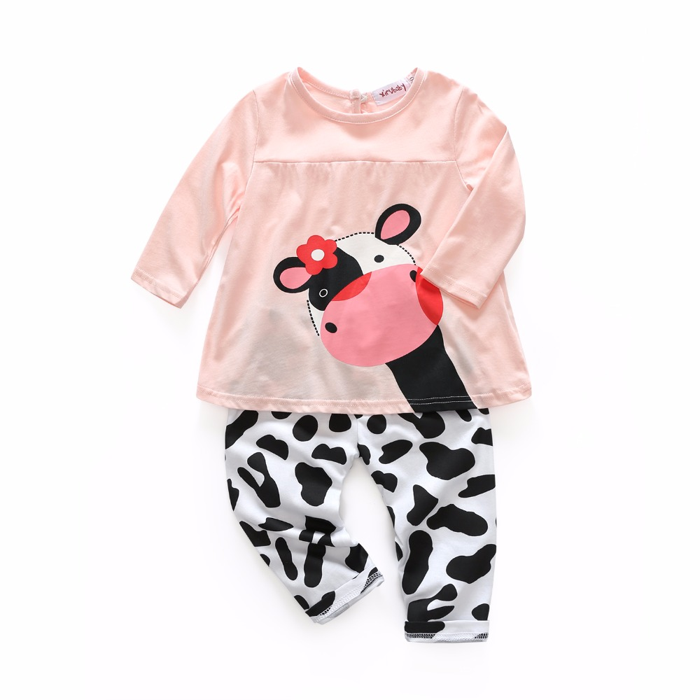 newborn baby boys and girls clothes cow printed clothes casual long-sleeved T-shirt+Pants suit Tracksuit 2pcs