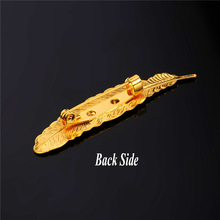 Plated Feather Brooch (4 Colors)