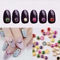 60 pcs 4 mm 2016 nova moda ferramentas unhas Nail Art 3D Stickers dicas pregos pérolas Glitter Rhinestone DIY decoração + roda