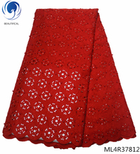 BEAUTIFICAL red cotton lace 2019 african fabric swiss voile in switzerland high quality with beads 5 yards/lot ML4R378