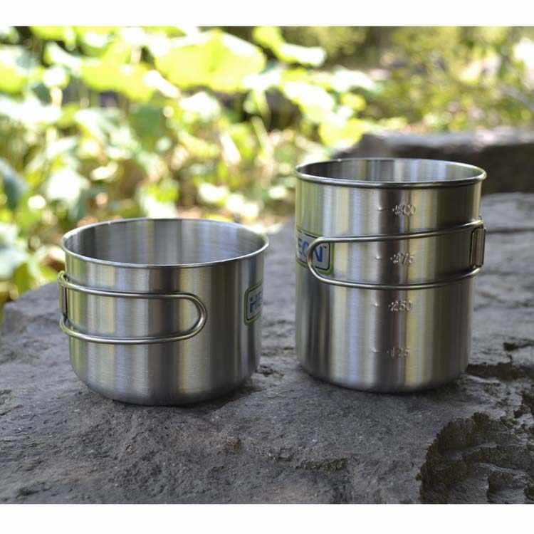 Бесплатная доставка Heecn уличная чашка из нержавеющей стали большая емкость стеклянный набор Одиночная уличная кастрюля набор 450 мл и 500 мл