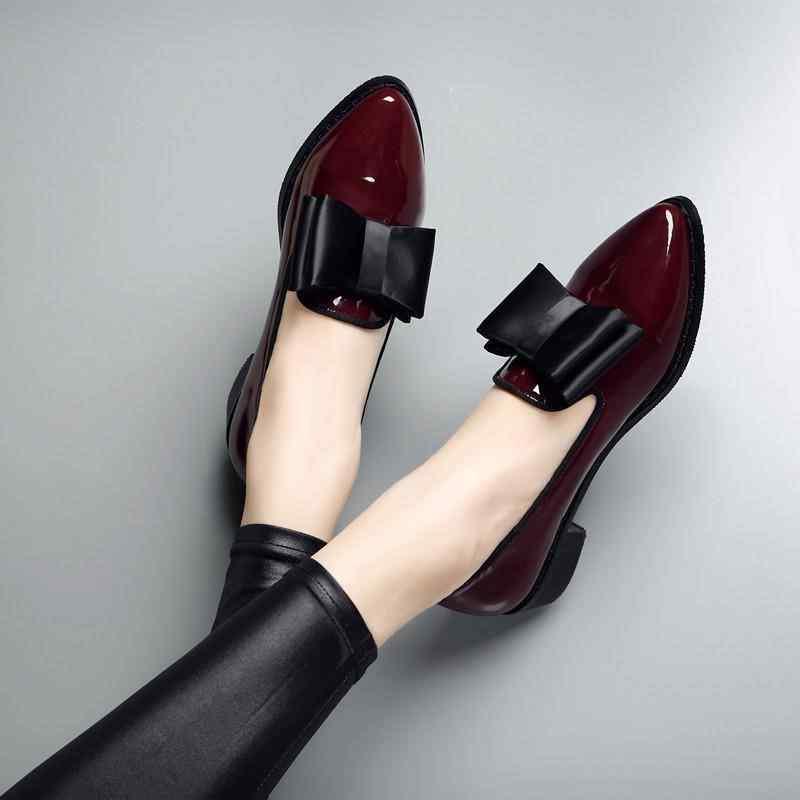 ใหม่ผู้หญิงปั๊มแฟชั่น Bowknot สิทธิบัตรหนัง Block Chunky รองเท้าส้นสูงรองเท้าเดี่ยวรองเท้าผู้หญิง Pointed Toe ปั๊ม Zapato Mujer