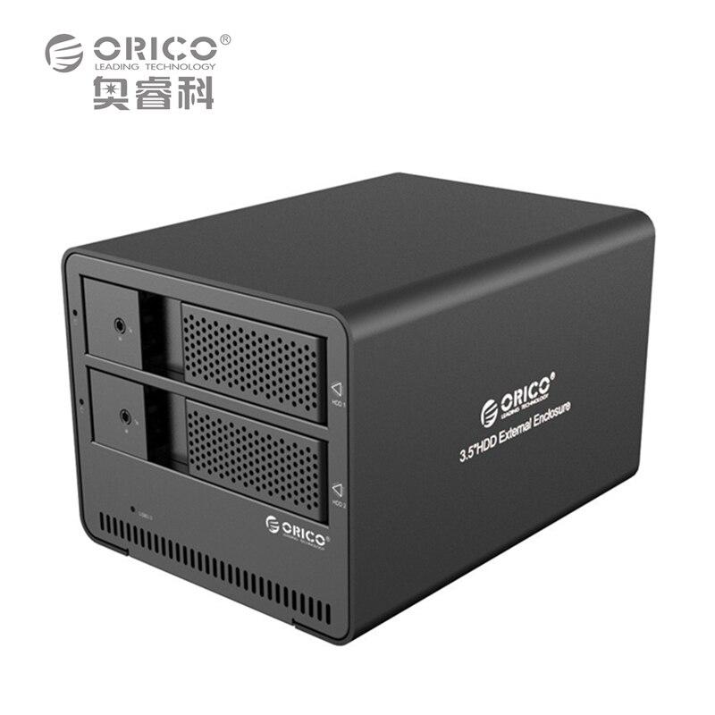 ORICO 9528U3-BK 2-bay USB3.0 Aluminum External SATA 3.5 Inch HDD Enclosure Support Tool free/Hot-swap/Intelligent sleep
