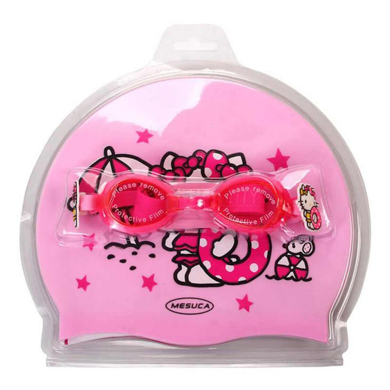 f1d86da09 ... Hello kitty Cute Girls Waterproof Protect Ear Pool Hat Children Caps  Children's Cartoon Swimming Cap Silicone ...