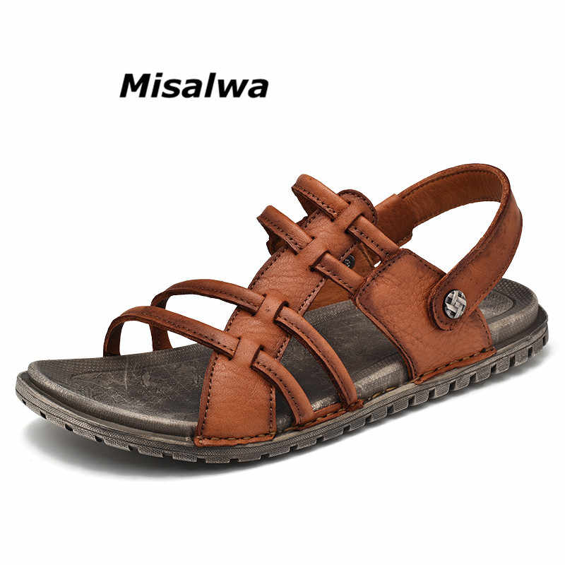 9f63d55a057b9 Misalwa Man Sandals 2019 Summer Natural Leather New Beach Men Casual Shoes  Skid Resistant Male Two
