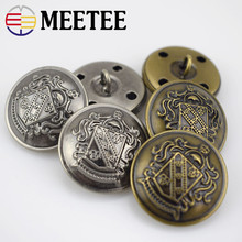 Meetee 10Pcs 12-30mm Metal Buttons Jeans Coat Jacket Button Copper Retro for DIY Sewing Clothing Decor Accessories B3-13