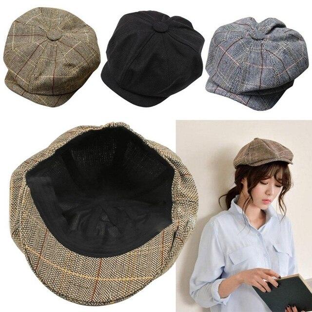 072a998fef0f0 Men Women Newsboy Driving Flat Gatsby Tweed Sun Hat Country Beret Baker Cap  painter caps octagonal