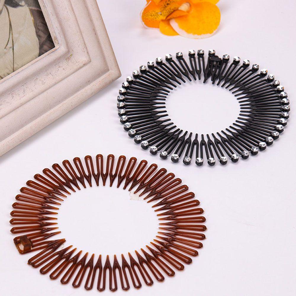 Peigne Flexible en plastique cercle extensible diamant | 1 pièce, bandeau de cheveux, Clip de lavage du visage, accessoires pour cheveux fixes