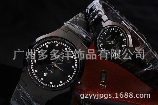 de Aço Preto Relógio de Presente Relógio Analógico Cristais Reloj