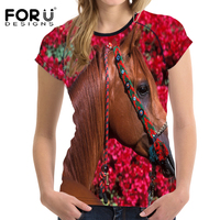 FORUDESIGNS Classic Animal Horse Printing T Shirt For Women Summer Casual Short Sleeved T Shirt Female