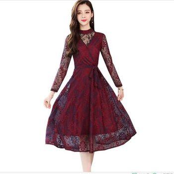 671cdecb0 Vestido de encaje 2019 nuevo de alta calidad Primavera Verano ropa elegante  vestido de fiesta S XXL Otoño de las mujeres de la moda Slim largo vestidos