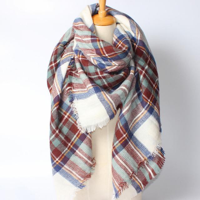 Mix Striped Plaid Scarves | Blanket Scarves