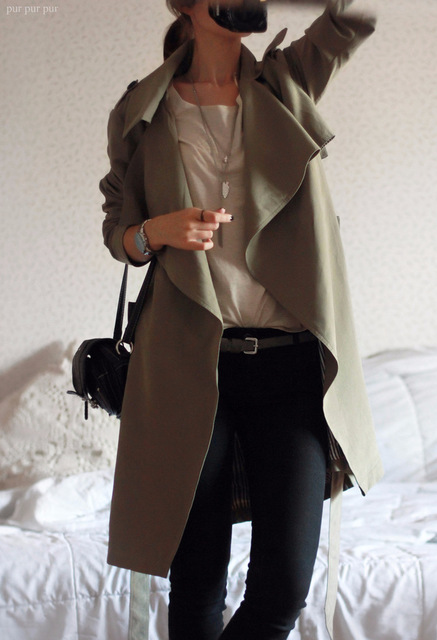 Women Trench Fashion 2016 Autumn Winter Army Green Long Overcoat Women Coat Casual Slim long Coats Outwear Trench
