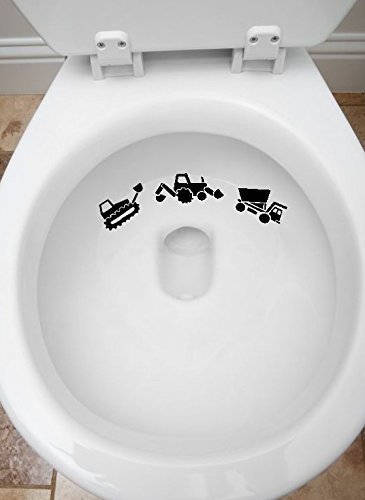 3pcs Toilet Targets Construction Trucks Aim Practice Collection Vinyl Decal Sticker Application Kids Fun