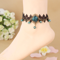 12 pcs/lot Best Deal Women Beach Anklets Velvet Rose Flower Blue Crystal Ankle Chains Foot Jewelry Anklets Foot Chain wholesale