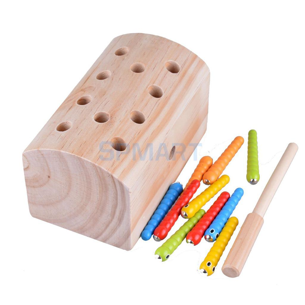 Funny Wooden Magnetic Catch Insects Game Toys Early Education Puzzles Interactive Toys Children Kids Montessori Educational Toys montessori education wood blowers traditional blowing games interactive games children early education puzzle toys