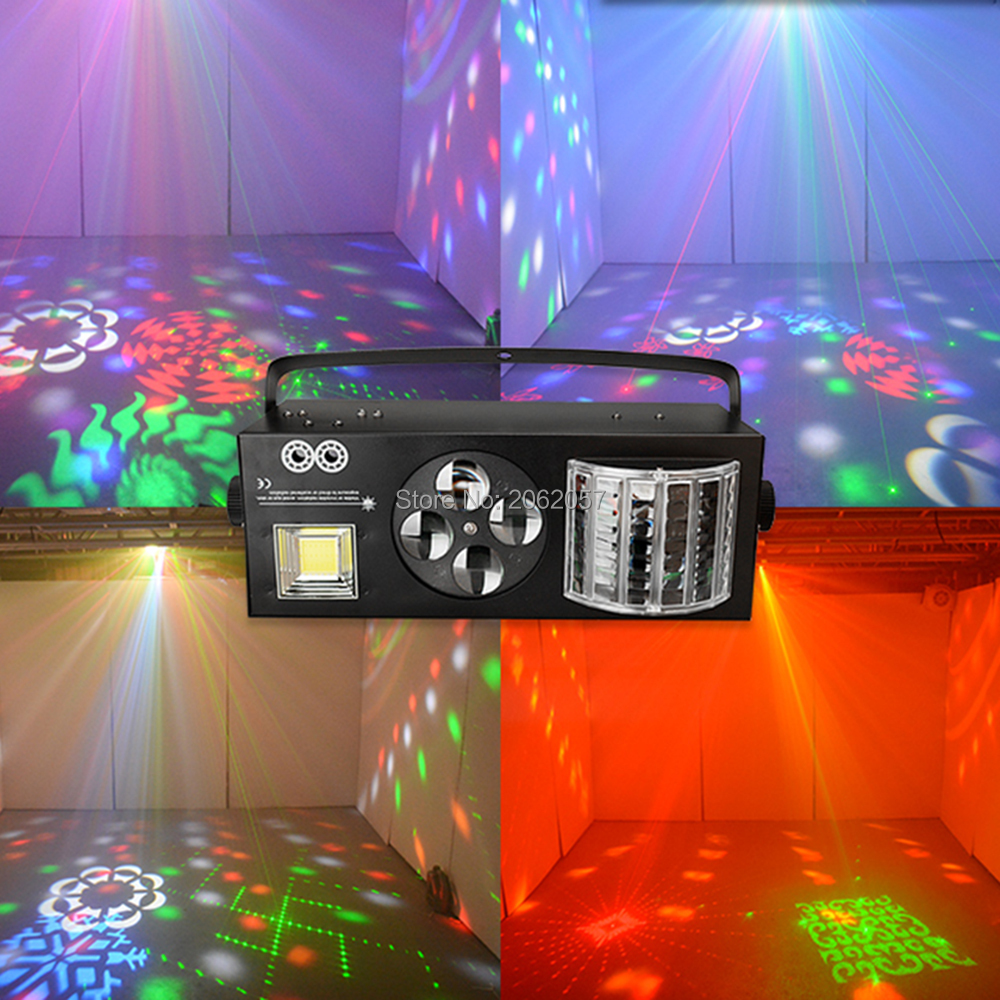 New 2017 4 in 1 LED professional stage effect light RG laser butterfly lights strobe for dj disco colorful light DMX equipment