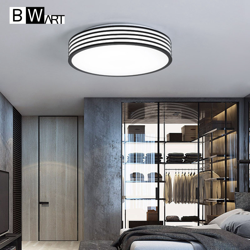 BWART Modern office Minimalism LED  Ceiling light Round Black and white stripes Bedroom office study Ceiling lamp noosion modern led ceiling lamp for bedroom room black and white color with crystal plafon techo iluminacion lustre de plafond
