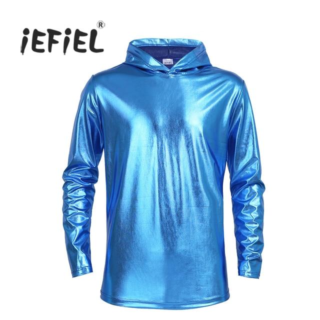 IEFiEL/мужские модные топы Лакированная кожа Клубная одежда для Вечеринка одежда с длинным рукавом футболка с капюшоном блестящие металлические Костюмы