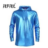 IEFiEL Mens Shiny Patent Leather Clubwear Nightclub Long Sleeves Hoodie T Shirt Tops Shinny Metallic Clothing