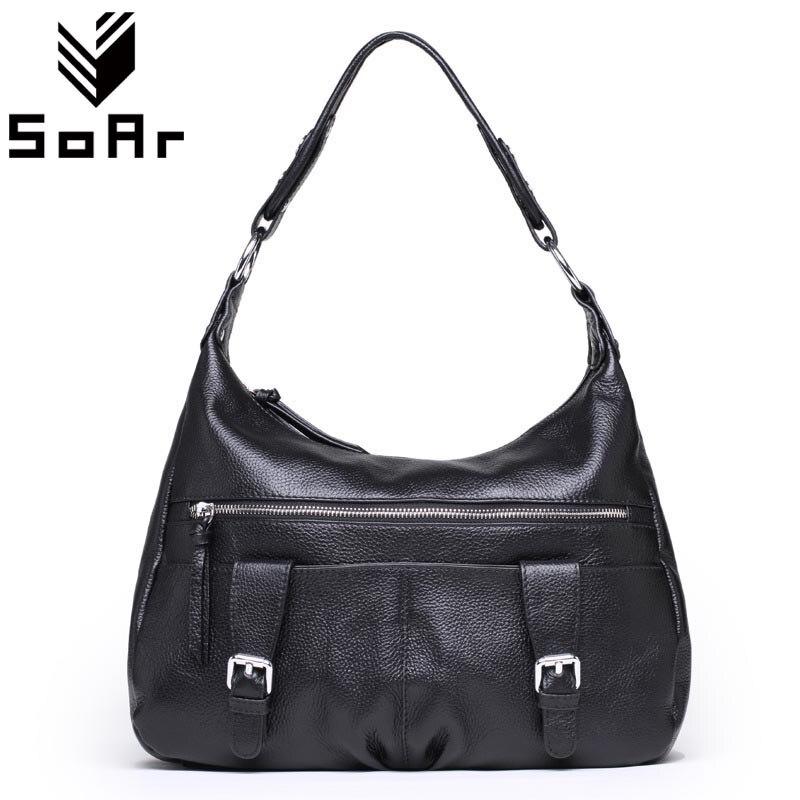 Women Bag Genuine Leather 2018 Fashion Designer Crossbody Shoulder Bag Female Zipper Female Real Leather Handbags Black