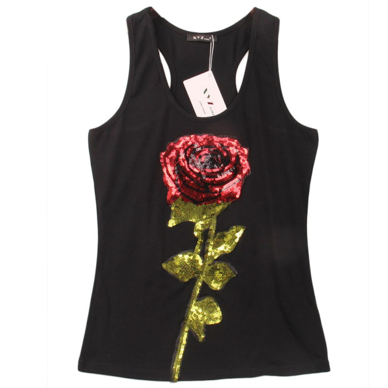 2016 Summer Style Tank Top Women Rose Sequins Sequined Vest Camisole Women Tops Fashion Sexy Racer Back Tank Tops