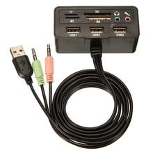 Многофункциональный 1 В 9 Splitter Адаптер Usb-концентратор Универсальный SD/TF/MS/M2 95 СМ черный Аудио Микрофон Удлинитель Порта