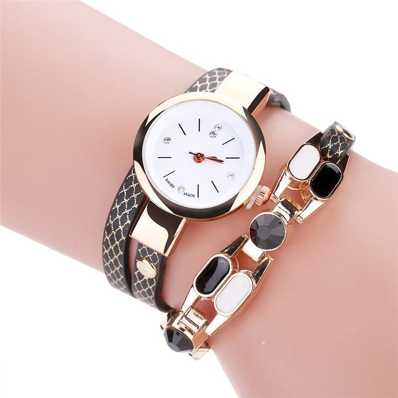 Luxury Quartz Diamond Circle Leather Bracelet Watch