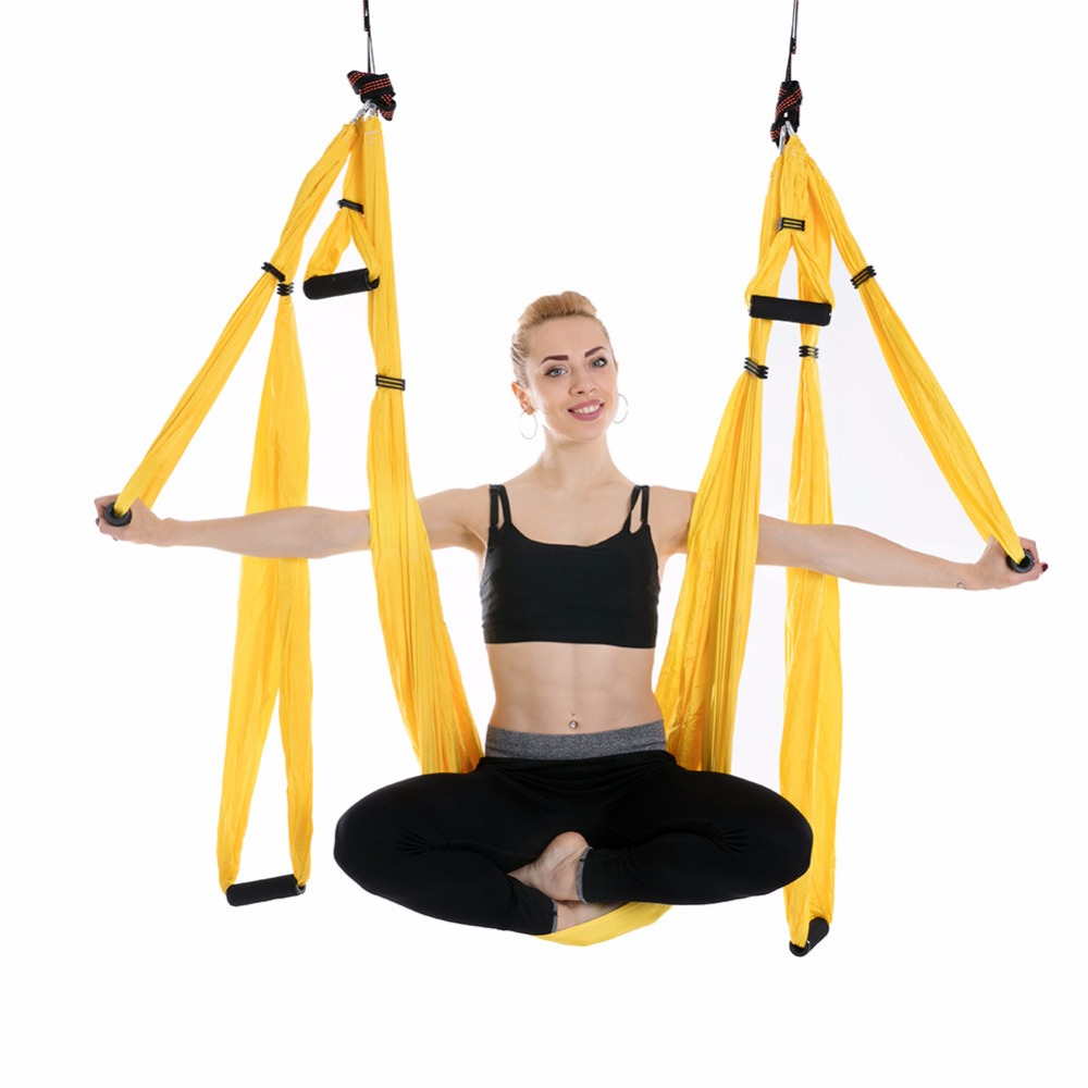 Anti-Gravity Yoga Hammock fabric Yoga Flying Swing Aerial Traction Device Yoga Hammock Set Fitness Equipment for Pilates HW484 fitness yoga hammock yoga swing anti gravity aerial straps high strength fabric decompression hammock mix color with 6 grip hand