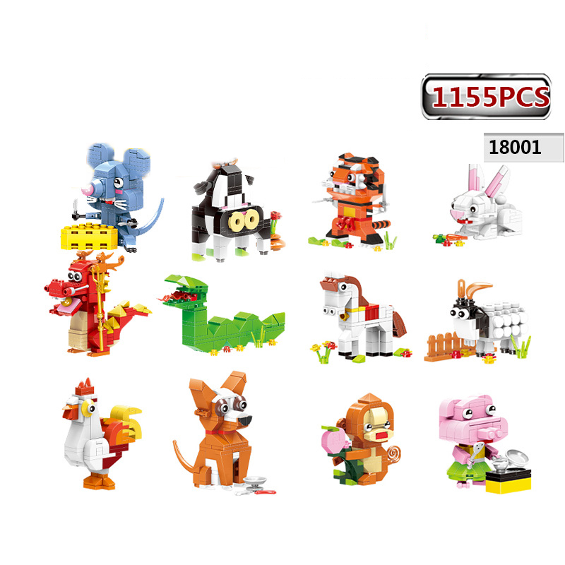 Funny Lovely cartoon animals Chinese Zodiac moc building block Mouse tiger rabbit dragon snake horse sheep monkey toy for kids bigger size soaked absorbent toy growing animals funny kids swell toy sea