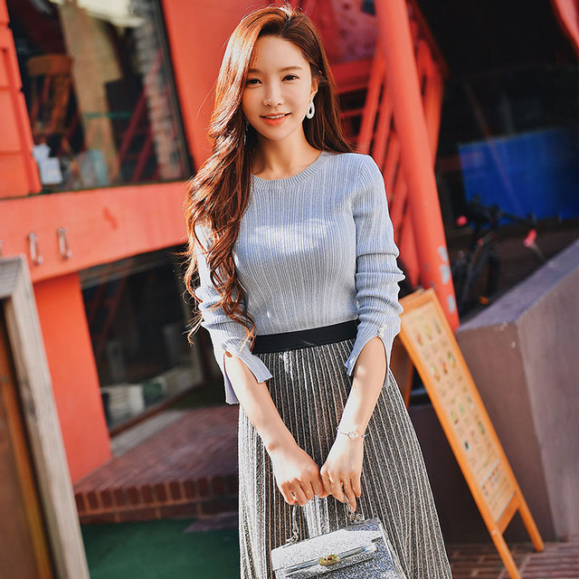Dabuwawa Pearl Beading Casual Knitted Sweater for Girls Women Long Sleeve Simple Elegant Pullovers Top  #DN1AJS003